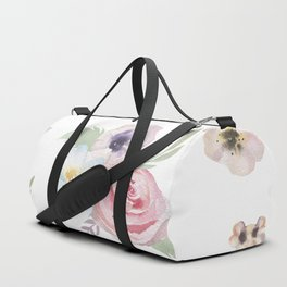 Floral I - White Duffle Bag