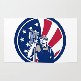 American Industrial Cleaner USA Flag Icon Rug