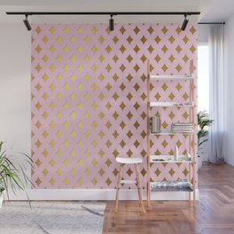 Queenlike - pink and gold elegant quatrefoil ornament pattern Wall Mural