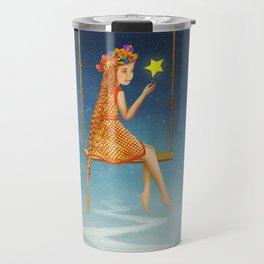 The lovely girl shakes on a swing , illustration art Travel Mug