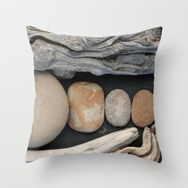 Driftwood And Stones  Throw Pillow