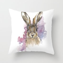 Hare portrait Throw Pillow