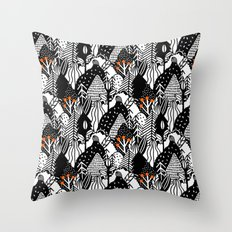 In the forest_B&W Throw Pillow