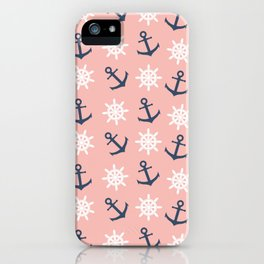 Nautical coral navy blue anchor and wheel pattern iPhone Case