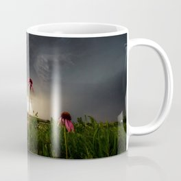 Stay Strong - Flowers Brace for Incoming Storm in Kansas Coffee Mug