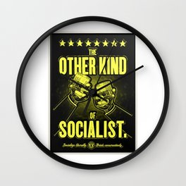 """Vintage Poster """"The Other Kind of Socialist"""" Alcoholic Lithograph Advertisement in lemon yellow Wall Clock"""