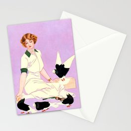 """Coles Phillips 'Fadeaway Girl' Illustration """"Feeding Pigeons"""" Stationery Cards"""
