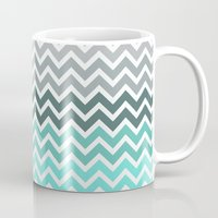 chevron Mugs featuring Tiffany Fade Chevron Pattern by RexLambo