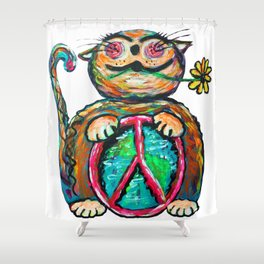 Peace Chubbycat Shower Curtain