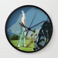 golf Wall Clocks featuring GOLF by aztosaha