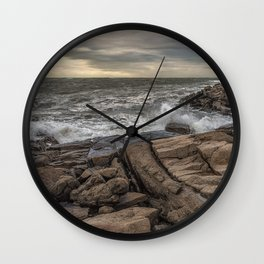 Lanescove sunset after the storm Wall Clock