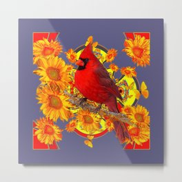 GOLDEN SUNFLOWERS RED CARDINAL GREY ART Metal Print