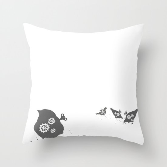 In which wind-up birds happen Throw Pillow