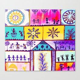 Multi colour Warli Art Canvas Print