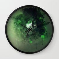 green arrow Wall Clocks featuring Arrow by Rose's Creation