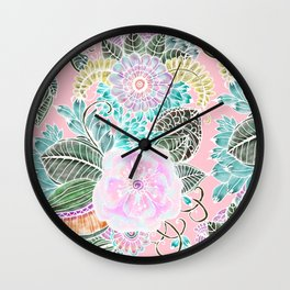 Blush pink lavender green white watercolor hand painted flowers Wall Clock