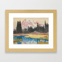 Mount Rainier Vintage Beautiful Japanese Woodblock Print Hiroshi Yoshida Framed Art Print