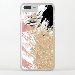 Giant Artsy Brushstrokes in Gold Rose Gold Glitter Clear iPhone Case