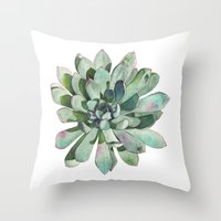 succulent Throw Pillows featuring Succulent by LouiseDemasi