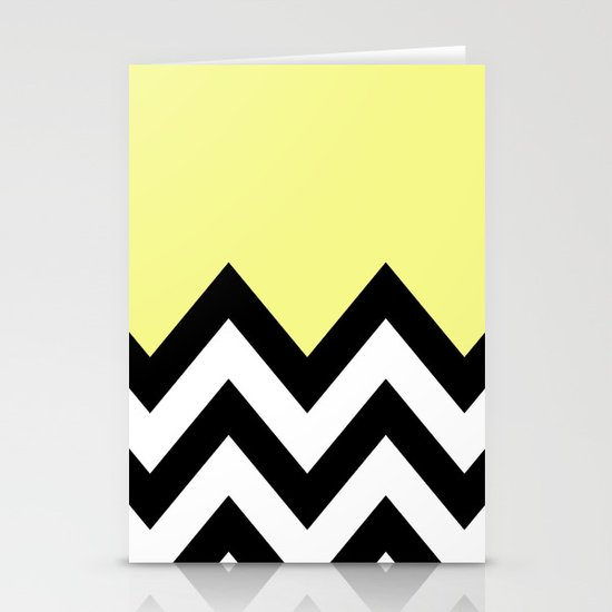 YELLOW COLORBLOCK CHEVRON Stationery Cards
