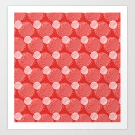 Floral Pattern   Dark Salmon, Living Coral and White Art Print