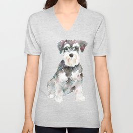 Miniature Schnauzer dog watercolors illustration Unisex V-Neck