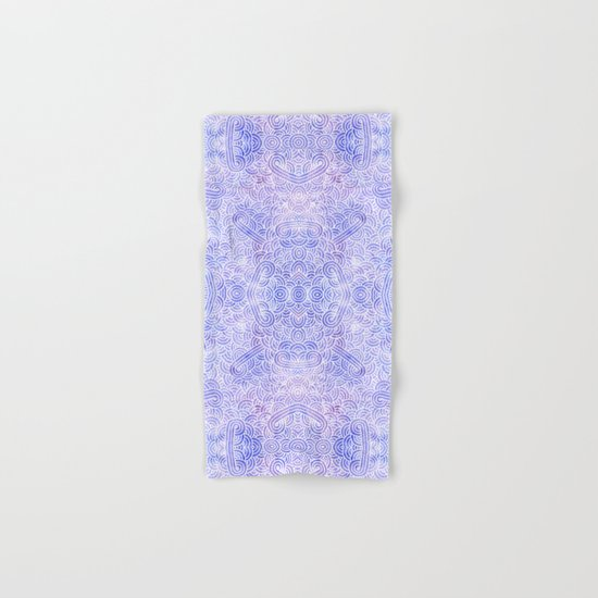 Lavender and white swirls doodles Hand & Bath Towel