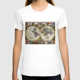 Vintage Map of The World (1626) - Stylized T-shirt