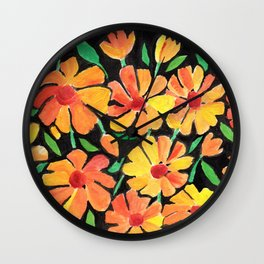 Orange Inspire Floral  Wall Clock