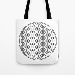 Flower of life in black, sacred geometry Tote Bag