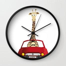 Giraffe in a Car Wall Clock