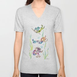 Watercolor Mermaids Unisex V-Neck