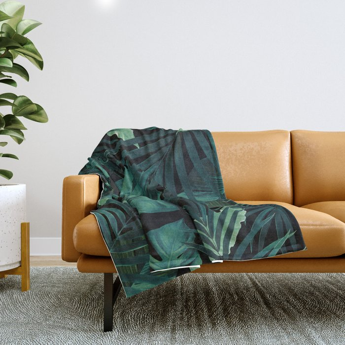 Tropical Jungle Night Leaves Pattern #1 #tropical #decor #art #society6 Throw Blanket