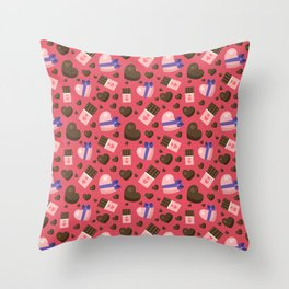 Cute valentine pattern with chocolate hearts Throw Pillow