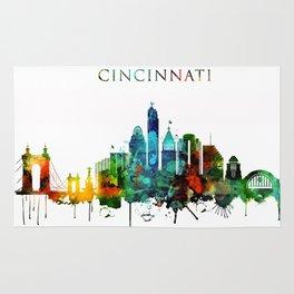 Colorful Cincinnati skyline Rug