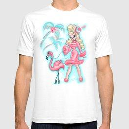 Pinup Doll Walking a Flamingo T-shirt