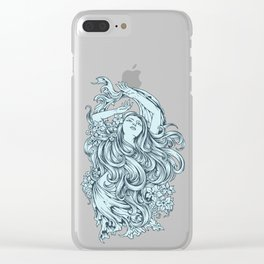 Beautiful Girl with BLUE ROSE Clear iPhone Case