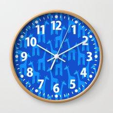 Giraffes-Blue Wall Clock