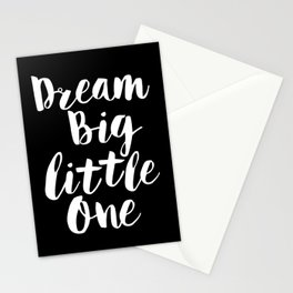 Dream Big Little One black-white typography poster black-white childrens room nursery home decor Stationery Cards