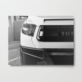 """TOY"" Tundra // Black and White Monster Truck Geared Out Big Wheels Matte Black Grille Metal Print"