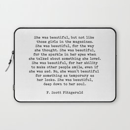 She Was Beautiful, F. Scott Fitzgerald, Quote Laptop Sleeve