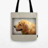 golden retriever Tote Bags featuring Happy Golden Retriever  by MyLove4Art