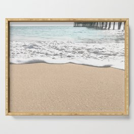 Wave Foam // California Ocean Pier Sandy Beaches Surf Country Pacific West Coast Photography Serving Tray