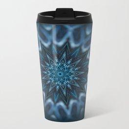 Blue Ice Swirl mandala Metal Travel Mug