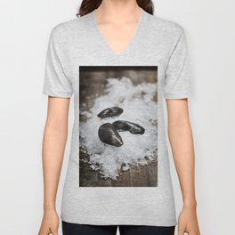Fresh  mussels ready for cooking on ice Unisex V-Neck
