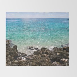 The Rocky Sea Shores of Cayman Island Throw Blanket