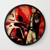 battlestar galactica Wall Clocks featuring Battlestar Galactica by Storm Media