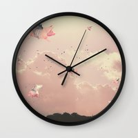 pigs Wall Clocks featuring Flying Pigs by Raven haylin
