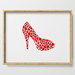 Love my heels- shoe with red hearts Serving Tray