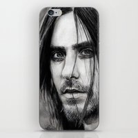jared leto iPhone & iPod Skins featuring Jared Leto by Luna Perri